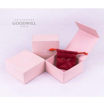Коробка из переплетного картона для ювелирных украшений с печатью