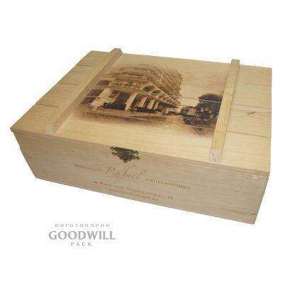 Коробка деревянная фирменная ольха с нанесением логотипа фото