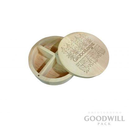 деревянная коробка круглая подарочная из берёзы