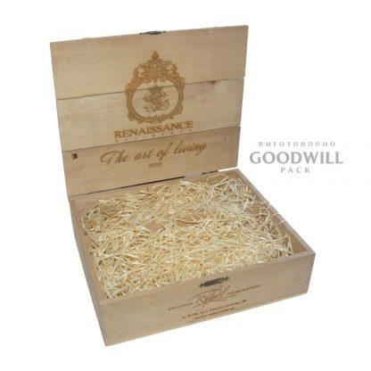 Деревянная коробка с ложементом солома