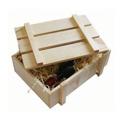 Деревянная коробка для вина с ложементом солома