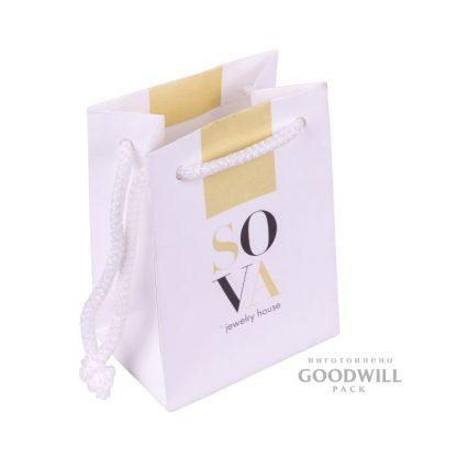 Пакет из дизайнерского картона для ювелирной компании «Sova»